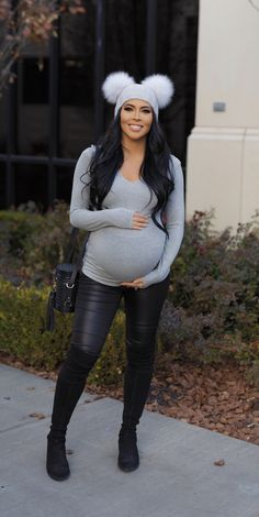 Maternity outfit grey long sleeve maternity too and faux leather pants and black suede thigh high boots Pregnant, bump style, fashion outfit ideas winter sweater style grey double Pom Pom cashmere beanie - Pregnancy Winter Maternity Outfits, Stylish Maternity, Winter Outfits Women, Maternity Fashion, Outfit Winter, Maternity Style, Fall Outfits, Leather Pants Outfit, Faux Leather Pants