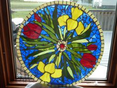 Mosaic table top-glass on glass. First mosiac project Mosaic Crafts, Mosaic Art, Mosaic Glass, Stained Glass, Glass Art, Mosaics, Glass Planter, Planters, Mosaic Flowers
