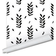 Finger Petals Wallpaper - Peel And Stick / Black / 2' x 8'