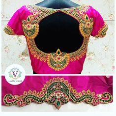 blouse designs Looking for blouse design to wear with your wedding silk sarees? Here are 19 pretty blouse choices to try and make your special saree even more special. Wedding Saree Blouse Designs, New Blouse Designs, Silk Saree Blouse Designs, Silk Sarees, Sari Blouse, Mirror Work Blouse Design, Hand Work Blouse, Maggam Work Designs, Blouse Models