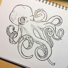 Niedliche Cartoon-Krake - Octopus Tattoo - Garden Pot Design - DIY Bathroom - Hairstyle For School - Ideas DIY Jewelry Octopus Drawing, Octopus Tattoo Design, Octopus Tattoos, Octopus Sketch, Octopus Artwork, Octopus Octopus, Octopus Painting, How To Draw Octopus, Squid Drawing