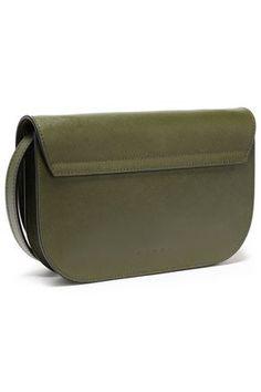 MARNI MARNI WOMAN TEXTURED-LEATHER SHOULDER BAG ARMY GREEN. #marni #bags #shoulder bags #leather