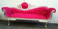 Pink and Silver Chaise Lounge Sofa Loveseat. $1,399.00, via Etsy.
