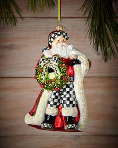 Deck the Halls Santa Christmas Ornament by MacKenzie-Childs at Horchow. #HORCHOWHOLIDAY14