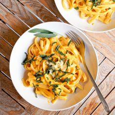 Vegan Creamy Pumpkin Pasta with Sage {Gluten-Free}
