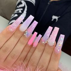 36 fabulous long coffin nails designs you must try in 2020 54 Bling Acrylic Nails, Drip Nails, White Acrylic Nails, Summer Acrylic Nails, Best Acrylic Nails, Bling Nails, Rhinestone Nails, Swag Nails, Pink Nail