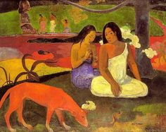 Arearea I, 1892 by Paul Gauguin, 1st Tahiti period. Post-Impressionism. genre painting. Musée d'Orsay, Paris, France