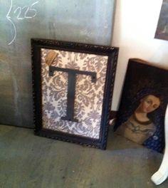 """Vintage Frame with Metal Letter """"T"""""""
