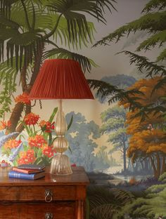 degournay mural featuring blue and orange Hand Painted Wallpaper, Painting Wallpaper, Fabric Wallpaper, Wall Wallpaper, Handmade Wallpaper, Scenic Wallpaper, Landscape Wallpaper, Amazing Wallpaper, Mural Art
