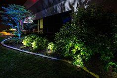 led outdoor landscape lighting bushes trees commercial building jpg