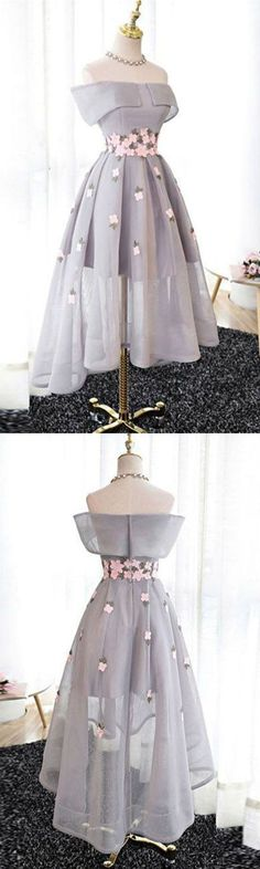 Best Sale Elegant A-Line Off-Shoulder High-Low Gray Organza Prom/Bridesmaid Dresses with Appliques,220037