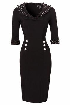 Bunny - 50s Thelma Pencil Dress black white polka #topvintage