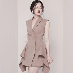 Women Double Breasted Ruffles Draped Irregular Blazer Dress Office Lady Notched Collar Sleeveless Button Above Knee Mini Dress Color Black Size S Girls Formal Dresses, Casual Dresses, Fashion Dresses, Dress Formal, Formal Wear, Mode Kpop, Girl Fashion, Womens Fashion, Skater Fashion