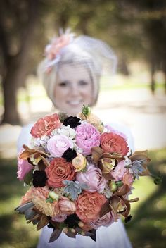 Colors dont necessarily have to be in the same color family. Look at how these flowers go perfectly together, some bolder than other, some light, and some darker. You have a lot of time to play with colors and to decide what kind of flowers you may want. Photography: RIM Photography