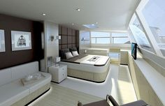 Yacht interior design was something that didn't exist for quite a while. But while purchasing a yacht, probably spent a great deal of time c. Luxury Yacht Interior, Boat Interior, Luxury Yachts, Luxury Boats, Interior Office, Jon Boats For Sale, Yacht Boat, Sailing Catamaran, Yacht Design