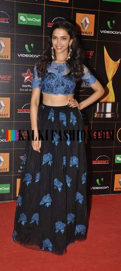 http://www.kalkifashion.com/ Deepika Padukone opted for a black and blue lehenga by Sheehlaa to attend the Star Guild Awards 2014