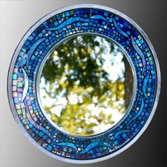 Round Blue Mosaic Mirror Diy Crafts