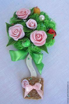 Купить Магнит с цветами из полимерной глины. Топиарий. - цветы, комбинированный, цветной, мини композиция