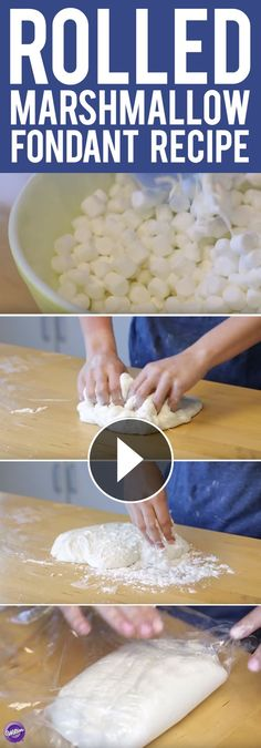Learn how to make rolled marshmallow fondant! This homemade fondant recipe uses ingredients which are probably already in your pantry. It's softer than our standard fondant recipe with a sweet taste t (How To Make Recipes Baking) Homemade Fondant Recipes, Frosting Recipes, Cake Recipes, Fondant Cupcakes, Cupcake Cakes, Fondant Tips, Fondant Toppers, Recipe For Fondant Icing, Decorated Cookies