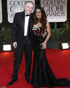 Salma Hayek in a strapless Gucci gown as she stepped out wit her husband Francois-Henri Pinault