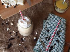 INGREDIENTS 2 ounces white chocolate sauce 2 ounces cold coffee or 1 tablespoon instant espresso +water 4 ounces milk ice whip cream