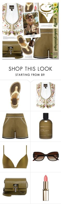 """""""PRETTY UNDERPINNINGS"""" by nanawidia ❤ liked on Polyvore featuring MICHAEL Michael Kors, Roberto Cavalli, Talitha, Sans [ceuticals], Zimmermann, La Perla, Carven, L'Oréal Paris and GUESS"""