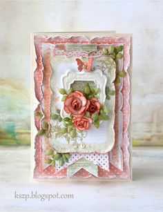 The leaves poking out of the layers give this card an organic look - it looks as if the leaves are alive.