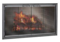 Aluminum Zero Clearance Fireplace Doors - The Fireplace Door Experts Fireplace Glass Doors, Fireplace Screens, Fireplace Hearth, Fireplaces, Zero Clearance Fireplace, Fireplace Stores, Door Sets, Aluminium Doors, Mesh Screen