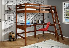 Study Loft With Full Shelf Desk - Espresso Finish - Bunk Bed - Twin Loft Bed
