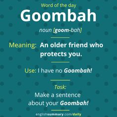 Goombah- Meaning friend-related friendship an older friend who protects you Interesting English Words, Unusual Words, Weird Words, Learn English Words, Advanced English Vocabulary, English Vocabulary Words, English Phrases, English Idioms, English Grammar