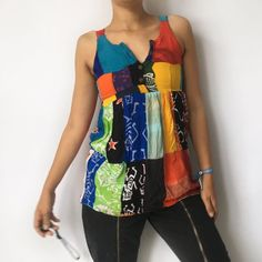 be14ae43fa165 Beautiful handmade patchwork batik vest top • colourful top - Depop