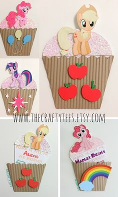 My Little Pony - MLP Invitation - Character Cupcake Invite - Birthday - Custom Order Available - 10/pack