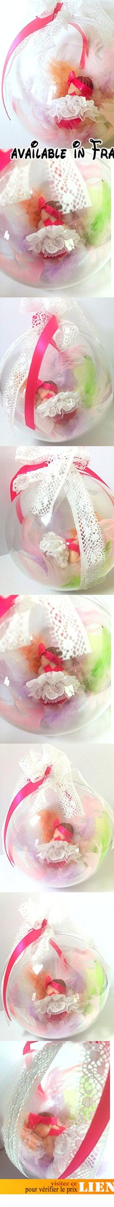 handmade/Boule décorative/ suspension /bébé fille/fimo/robe blanche/ robe de baptême/cadeau marraine /baby shower/naissance/fait main/plume.  #Guild Product #GUILD_BABY