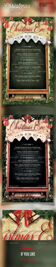 DIY Wedding Menu Template Download - Printable Menu  - christmas menu word template
