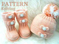 Strick Muster Baby Schuhe Baby Booties Baby Hut von Solnishko43