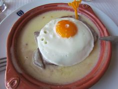 steak in a butter garlic sauce with fried egg. Portuguese staple