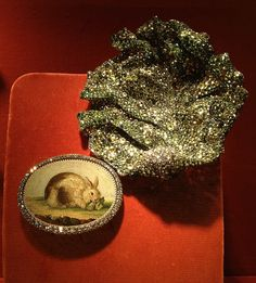 JAR ~ Lettuce Leaf and 18th Century Micro Mosaic Rabbit Brooches, 2013 ~ Micro mosaic, garnets, diamonds, silver, gold. Private Collection ~ Photo courtesy of Sweet Sabelle