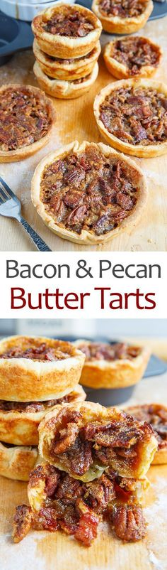 Maple Bourbon Bacon and Pecan Butter Tarts Recipe : Buttery tarts with crispy all butter pastry shells filled with a sweet maple custard, pecans and bacon. Bacon Recipes, Tart Recipes, Dessert Recipes, Cooking Recipes, Dessert Tarts, Butter Pastry, Butter Tarts, Yule, Pastry Shells