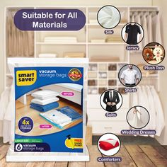 2 Jumbo Suitcases 2 Extra Large Dresses Bedding 2 Medium Space Saver Reusable Bags with Travel Hand Pump for Duvets Vacuum Storage Bags 6 Bags Clothes Comforters Sweater Quilts Pillows