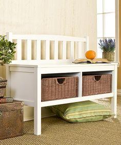 Another great find on #zulily! White & Rattan Basket Storage Bench #zulilyfinds