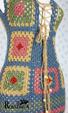 Unique Crochet Dress with Granny Square Motifs Material: 70% wool, 30% acrylic Meassurements: Lenght: 78 cm - 30,7 inch Minimum waistline of the dress: 72 cm - 28,3 inch Due to the flexible material, its width matches the body types. Lenght of the cord: approx. 240cm - 94,5 inch Care: