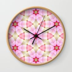 Modern Pink Petals Flower Pattern Wall Clock