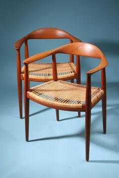 The Chair. Designed by Hans Wegner for Johannes Hansen, Denmark. 1950's. - Teak and cane.