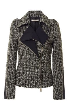 Tweed Biker Jacket by Bouchra Jarrar - Moda Operandi