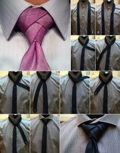 How to Tie a Necktie - Eldredge Knot - How to Tie a Tie. Great pin since I tie all of Leo's ties Nudo Windsor, Windsor Knot, Diy Fashion, Mens Fashion, Fashion Tips, Eldredge Knot, Tie A Necktie, Necktie Knots, Cool Ties