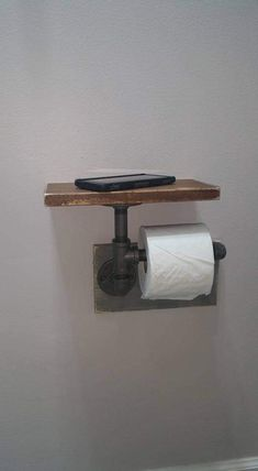 """Industrial Toilet Paper Holder, Farmhouse Toilet Paper Holder, Plumbing Pipe Toilet Paper Holder, Industrial Bathroom, Rustic - with Shelf - Constructed of ½"""" iron pipe made from unfinished fittings with a natural gunmetal color. Industrial Toilets, Industrial Bathroom, Industrial Farmhouse Decor, Industrial Pipe Shelves, Industrial Furniture, Plumbing Pipe Shelves, Shelves With Pipes, Vintage Industrial, Industrial Lamps"""