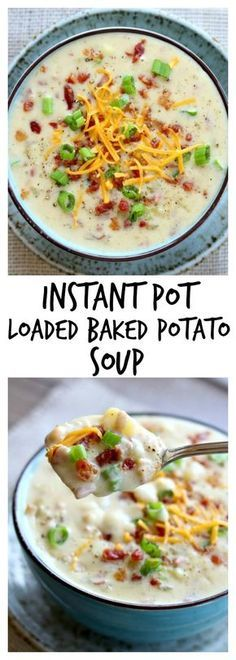 Instant Pot Loaded Baked Potato Soup–everything you love about baked potatoes in soup form…cheese, bacon, sour cream, green onions and potatoes. Basically a cheesy potato soup recipe that you can make in your electric pressure cooker #instantpot #instapot