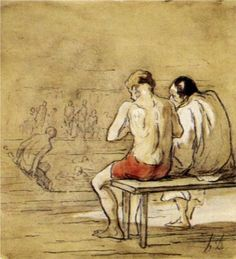 """Bathers"" by Honore Daumier via Wikipaintings."