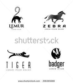 Animal Emblem Collection. Lemur, Horse, Tiger and Badger