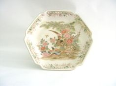 Pheasant Floral Japan Porcelain Hexagon Plate Gold Trim by mish73, £12.00